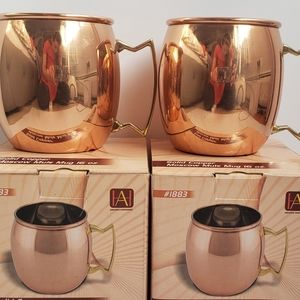 Solid Copper Mug Cup Set of 2